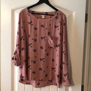 Loft XL blouse. Mauve and blue
